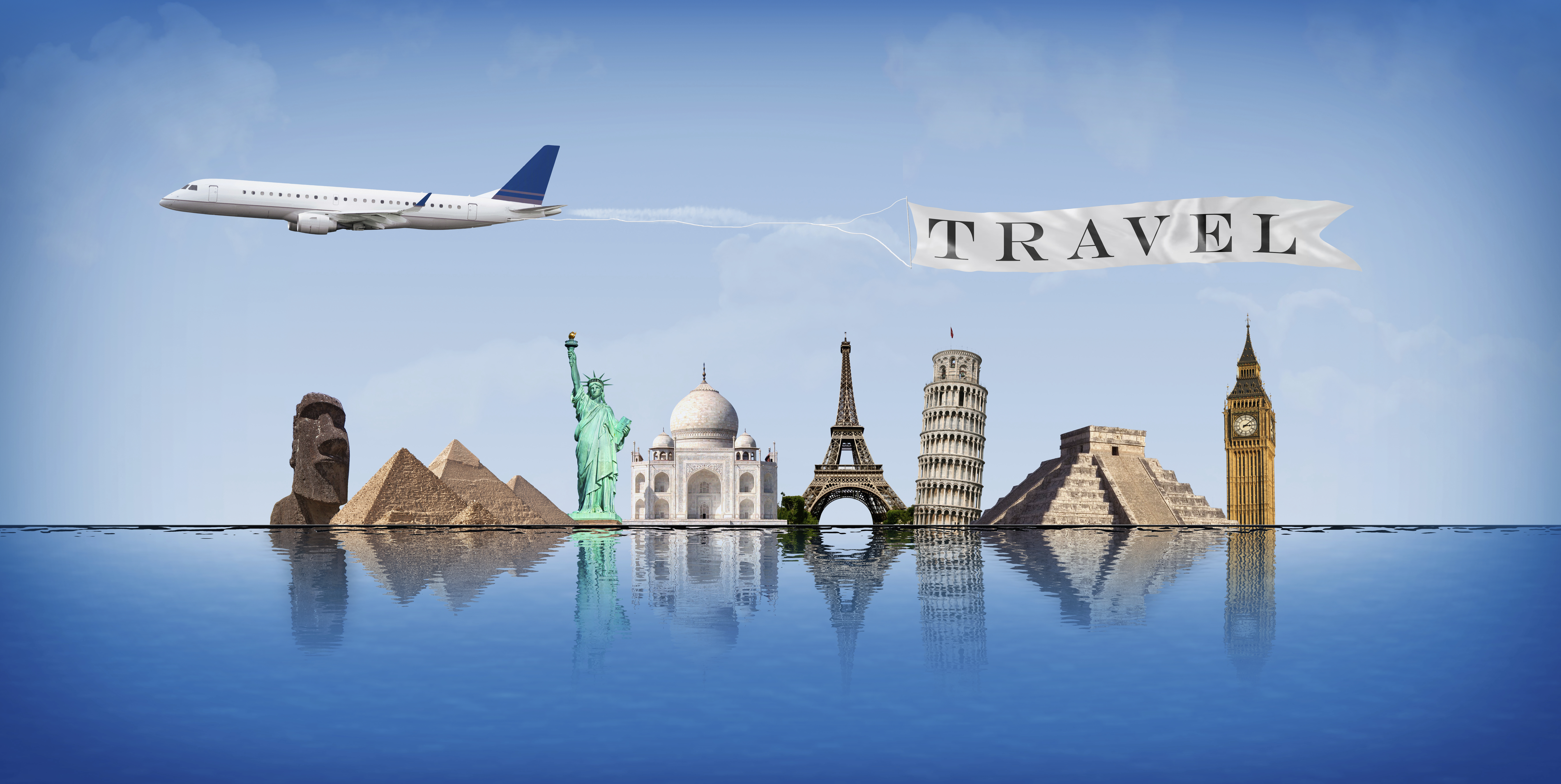 Concept of travel around the world with representation of important monuments reflected in water